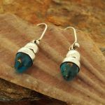 Turquoise Bronze Acorn Silver Earrings