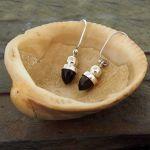 Gold Obsidian Acorn Silver Earrings