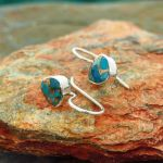 Turquoise & Bronze Silver Drop Earrings