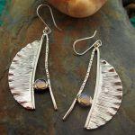 Opalino Feather Silver Earrings