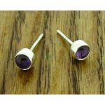 Amethyst Silver Stud Earrings