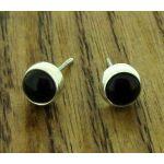 Black Obsidian 6mm Silver Stud Earrings