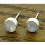Moonstone 6mm Silver Stud Earrings
