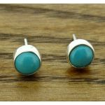Turquoise 6mm Silver Stud Earrings