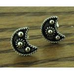 Mexican Moon Silver Stud Earrings