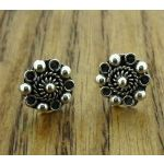 Spiral Flower with Oxidised Petal Stud Silver Earrings (30)