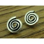 Oxidised Spiral Stud Silver Earring