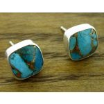 Turquoise with Bronze Silver Square Stud Earrings