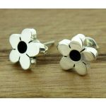 Oxidised Flower Silver Stud Earrings