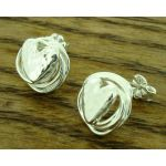 Knotted Heart Silver Stud Earrings