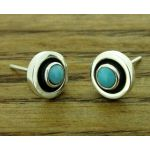 Framed Turquoise Silver Stud Earrings