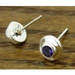Angled Amethyst Silver Stud Earrings