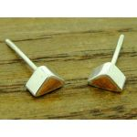 Copper and Silver Triangle Stud Earrings