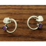 Amethyst Circle Silver Stud Earrings