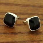 Obsidian Silver Square Stud Earrings