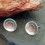 Copper Sunset Silver Stud Earrings
