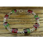 Rectangle Poppy and Rose Silver Bracelet