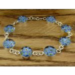 Circle Forget-me-not Silver Flower Bracelet