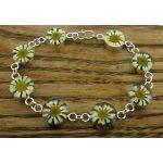 Circle Daisy Silver Flower Bracelet