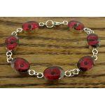 Oval Poppy Silver Flower Bracelet