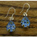 Teardrop Forget-me-not Silver Flower Earrings