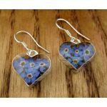 Heart Forget-me-not Silver Flower Earrings