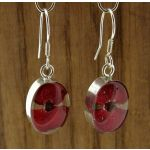 Oval Poppy Silver Flower Earrings