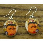 Frida Kahlo with Diego Rivera Silver Flower Earrings