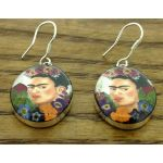 Frida Kahlo with Flowers in Hair Silver Earrings