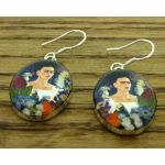 Frida Kahlo with Parrots Silver Earrings
