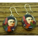 Frida Kahlo with Headscarf Silver Earrings