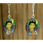 Frida Kahlo with Flowers Silver Earrings