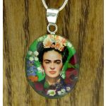 Frida Kahlo with Roses Silver Pendant