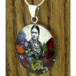 Black White Frida Kahlo with Flowers Silver Pendants