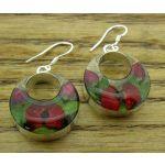 Circle Poppy & Rose Silver Flower Hoop Earrings