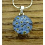 Oval Forget-me-not Silver Flower Pendant
