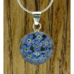Circle Forget-me-not Silver Flower Pendant
