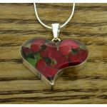 Heart Poppy Rose Silver Pendant