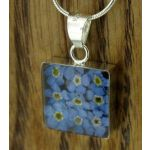 Square Forget-me-not Silver Flower Pendant