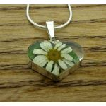 Heart Daisy Silver Flower Pendant