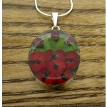 Oval Poppy and Rose Silver Flower Pendant (Large) (207)
