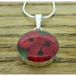 Poppy Flower Circle Pendant