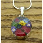 Oval Silver Flower Pendant (Small) (220)