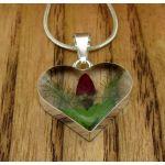 Heart Rose Silver Flower Pendant (Small) (255)