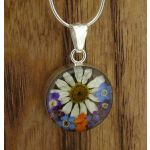 Handmade Silver Pendant with Pressed Flowers