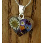 Heart Silver Flower Pendant