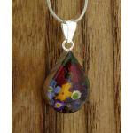 Teardrop Silver Flower Pendant with Poppy & Mixed Flowers
