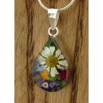 Teardrop Silver Flower Pendant (Small) (269)