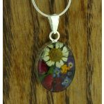 Oval Silver Flower Pendant (Small) (276)