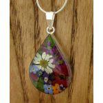 Teardrop Silver Flower Pendant